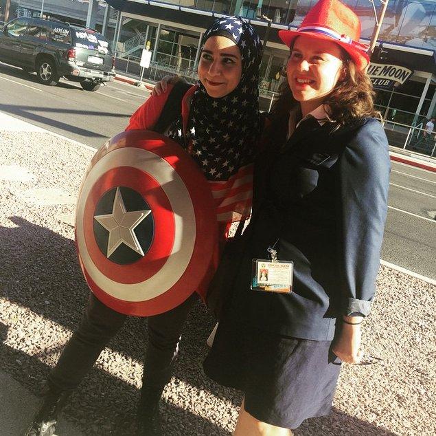 Hijab style Halloween - Look 8, Déguisement avec Hijab pour ressembler à Captain America