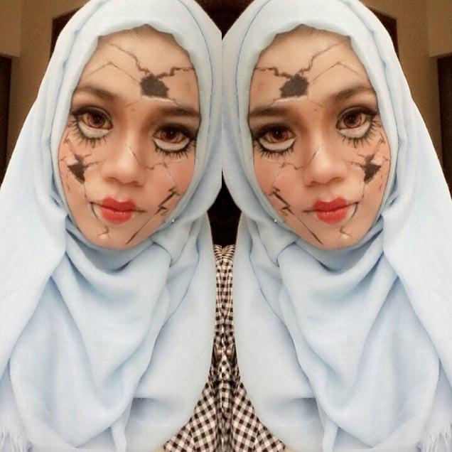Hijab style Halloween - Look 9, Déguisement avec Hijab et maquillage pour ressembler à Shattered Doll