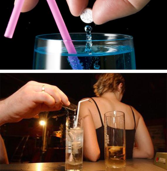 On distingue deux grands types de drogue du viol : Le GHB (acide gamma hydro butyrique) (a) et le Rohypnol (b)