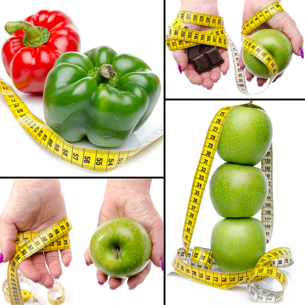 Collage with concepts of diet and weight loss