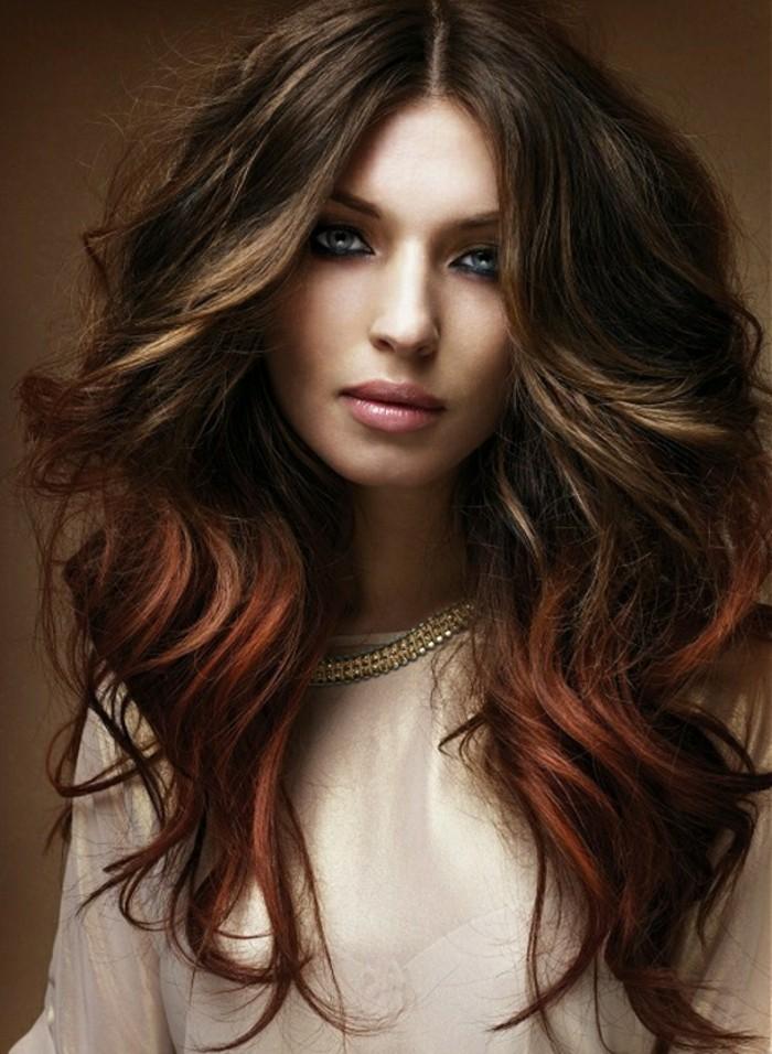 Couleur cheveux brun et rouge