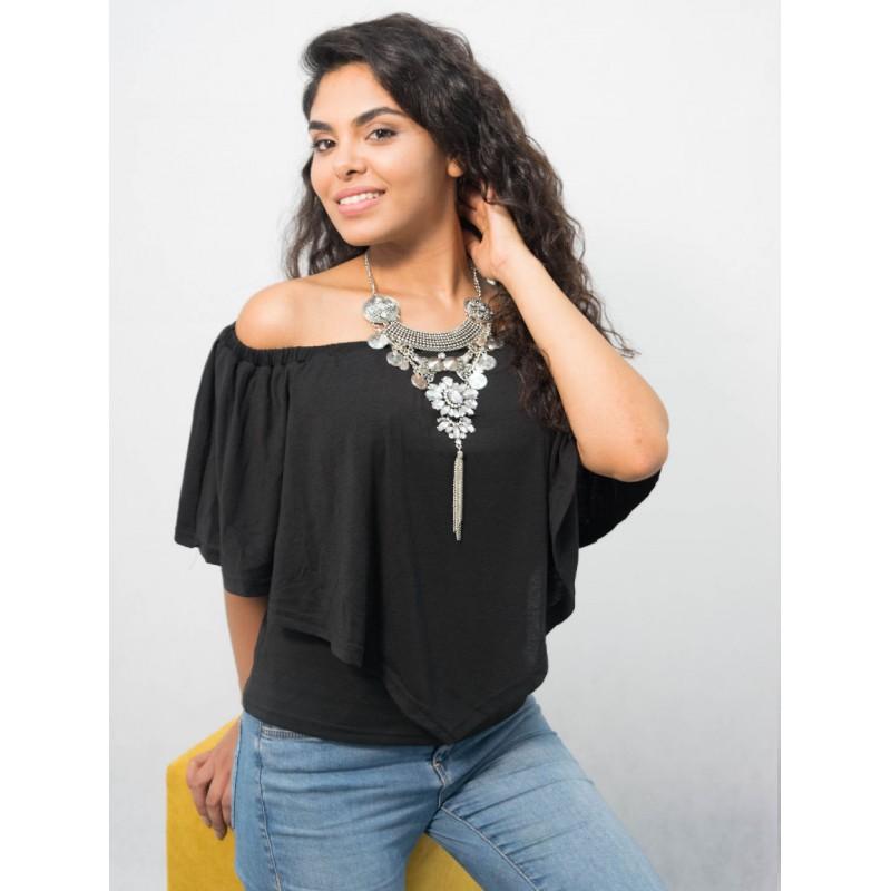 blouse noir en polyester , épaule dénudée manches courtes , style décontracté. Source