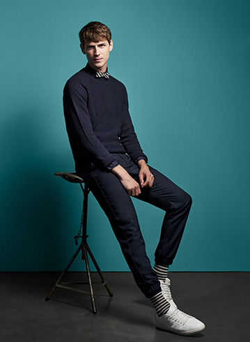 Jules collection 2017: Look 10 - Nœud Papillon à motifs - Pull torsade - Chino slim casual
