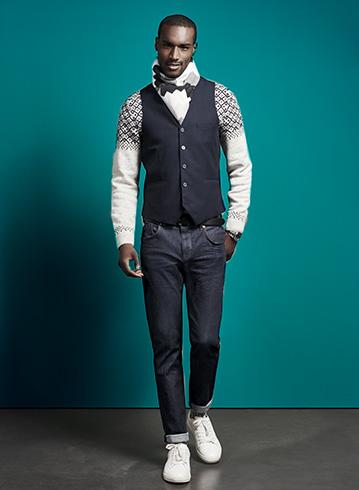 La nouvelle collection Jules : Look 6 - Gilet Sans Manche - Echarpe Maille ZigZag - Chino slim casual
