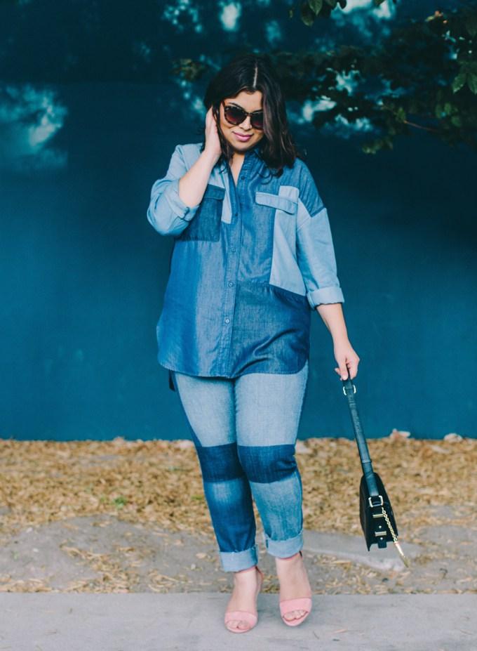 Look en jean patchwork reperé chez Jay Miranda