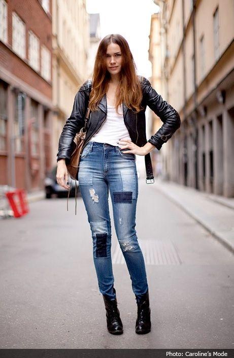 Un autre look en jean patchwork qu'on aime pour la saison 2017 - Photo Caroline's Mode