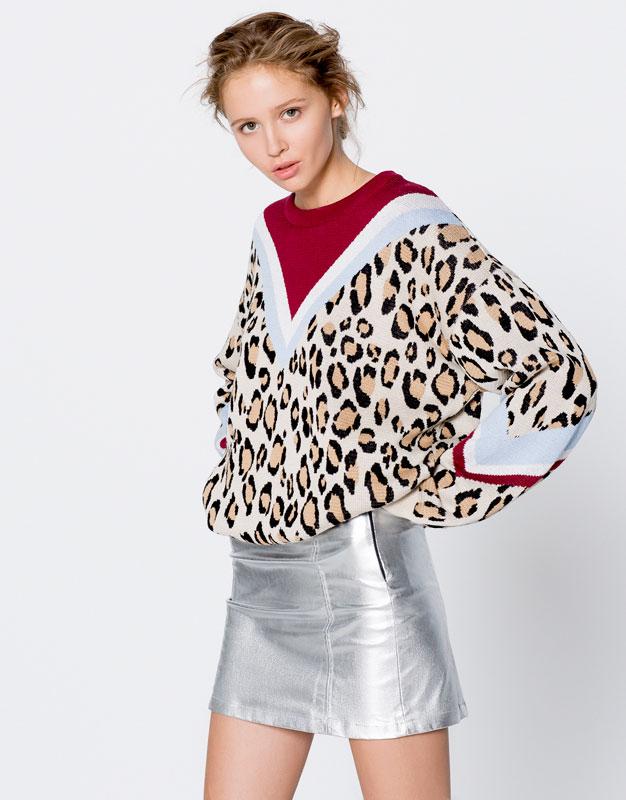 Pull imprimé léopard chez Pull&Bear Tendance Hiver 2017