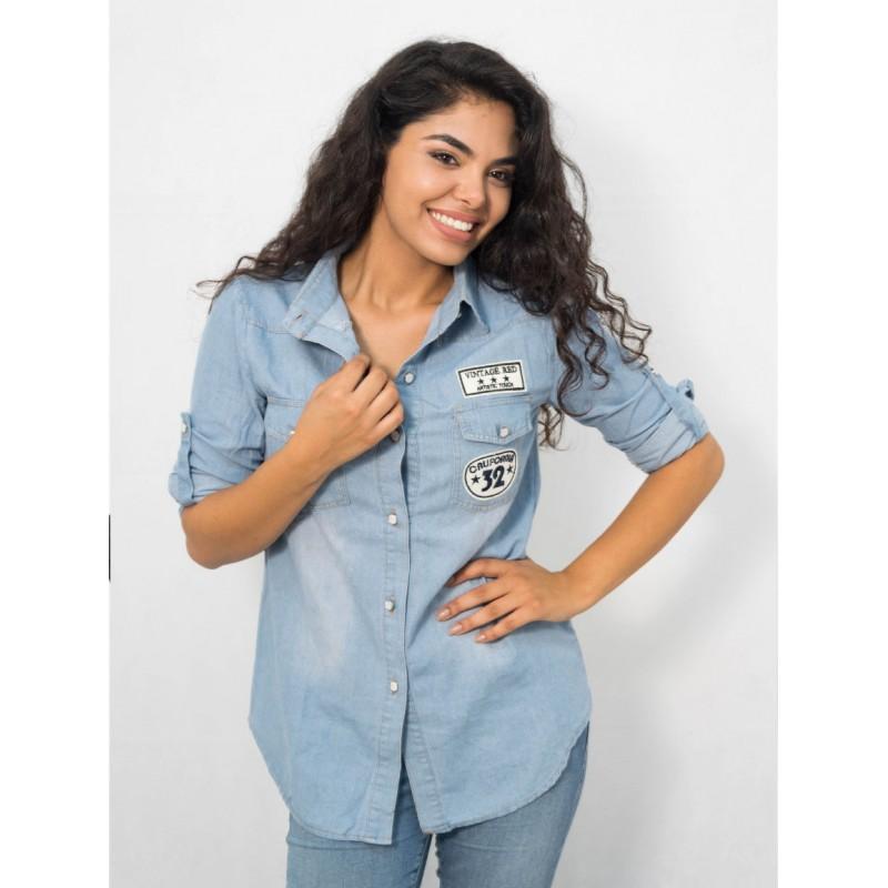 Chemise en jean bleu avec patch, manches longues , col en revers , style décontracté