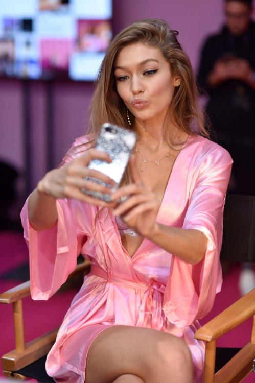 Gigi Hadid backstage Victoria's Secret 2016