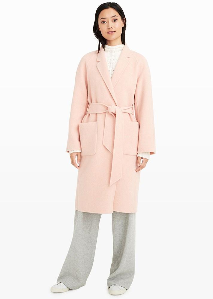 Manteau long rose pour l'hiver 2017