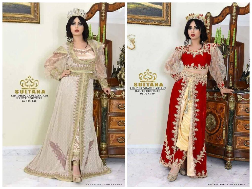 caftan haute couture tendance 2017 - Deux modeles de caftans tunisiens avec pantalon - Rym Dhaouadi