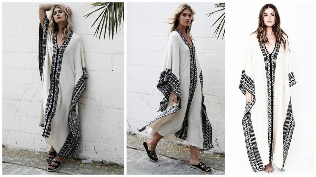 Caftan moderne tendance 2017 - Robe caftan simple en blanc et noir.