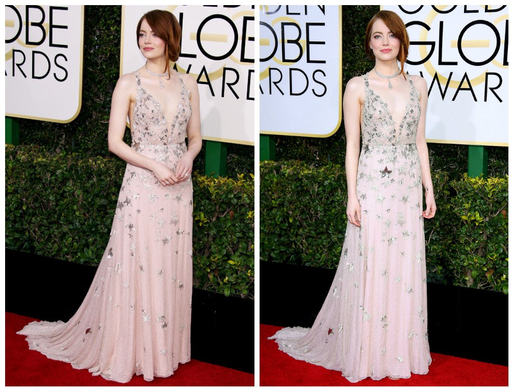 Golden globes 2017 - Emma Stone en robe de cocktail Valentino Haute Couture