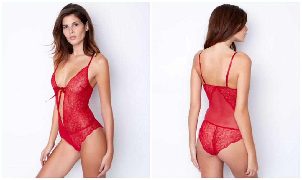 Etam Tunisie Collection lingerie 2017 - Nuisette rouge en DENTELLE FLORALE ET DOS TULLE