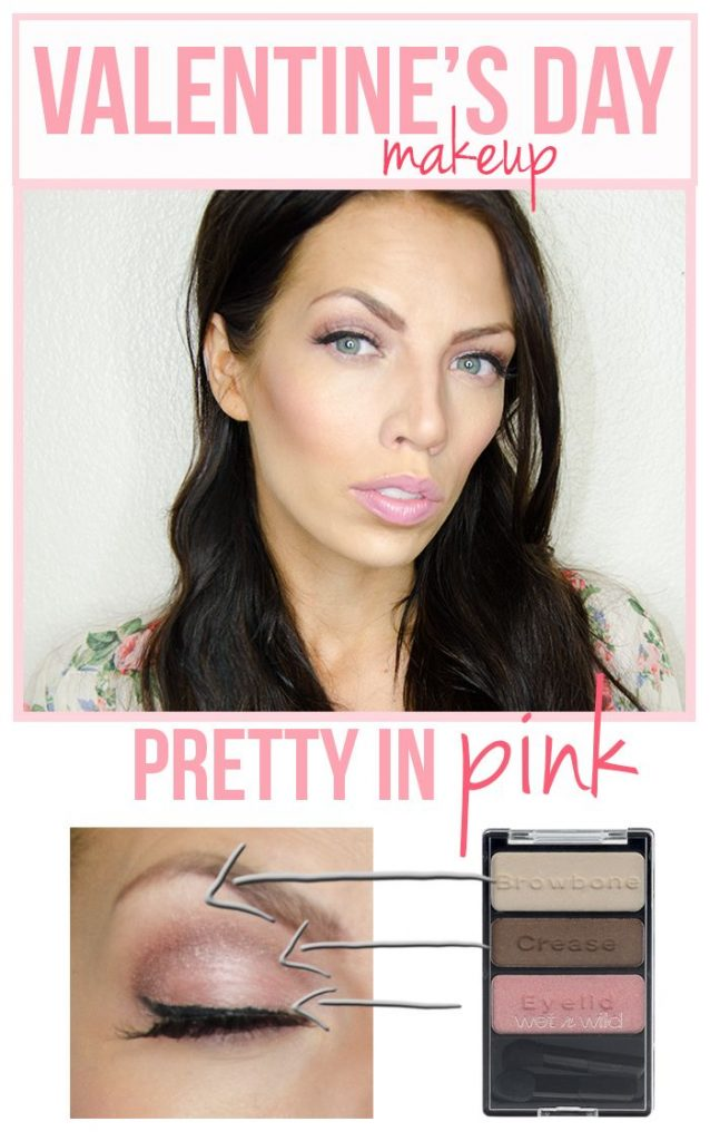 Idée maquillage Saint-Valentin – du fard à joues et du rouge à lèvres en rose