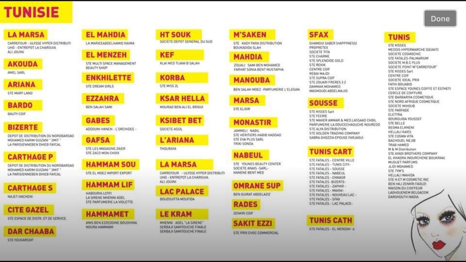 les points de ventes Maybelline en Tunisie