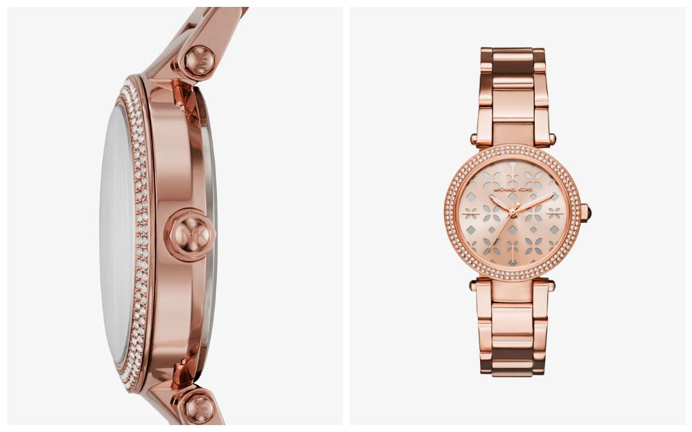 MICHAEL KORS Tendance 2017 - Montre Parker ton or rose : La montre Parker a été revisitée pour la saison avec des découpes en forme de fleurs sur le cadran et des pierres pavées pour une touche scintillante. Avec juste ce qu'il faut de brillance, c'est la montre parfaite pour apporter une touche féminine et luxueuse à n'importe quelle tenue.
