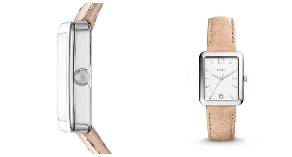 MONTRE ATWATER À TROIS AIGUILLES EN CUIR COULEUR SABLE : Affichant le meilleur du minimalisme, la montre moderne Atwater est dotée d'un boîtier rectangulaire discret avec des index en forme de bâtons, sur un bracelet en cuir souple surpiqué.