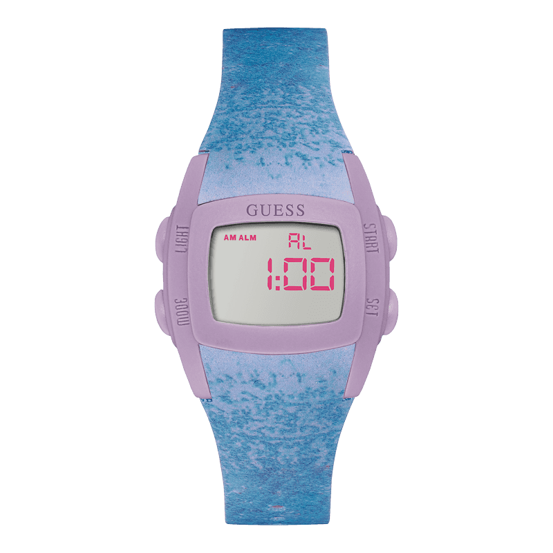 Montre Guess STYLE W0943L3 Digital : Cadran Gris, Boîtier Purple et Bracelet Purple