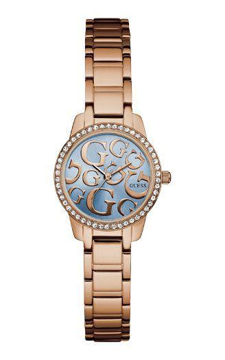 Montres pour femmes tendances 2017 - Montre Guess modele W0891L3 : Cette montre Guess à un boîtier en acier inoxydable en or rose avec un diamètre de 27mm et possède un bracelet en métal. Le boîtier de la montre contient un mouvement quartz de haute qualité et un cristal minéral.