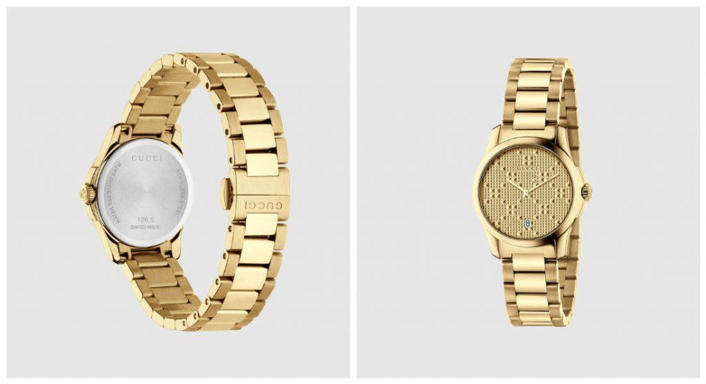 Montre pour femme Gucci COLLECTION 2017 - modele G-Timeless : Les montres Gucci s'amusent des emblèmes de la marque tels que le mors à cheval, le logo GG, ou encore les couleurs vert-rouge-vert qui rappellent une sangle d'équitation.