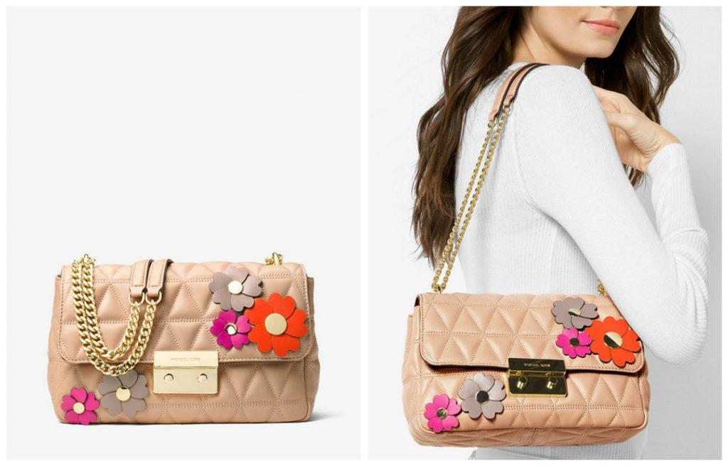 Grand sac porté épaule Sloan avec appliques florales