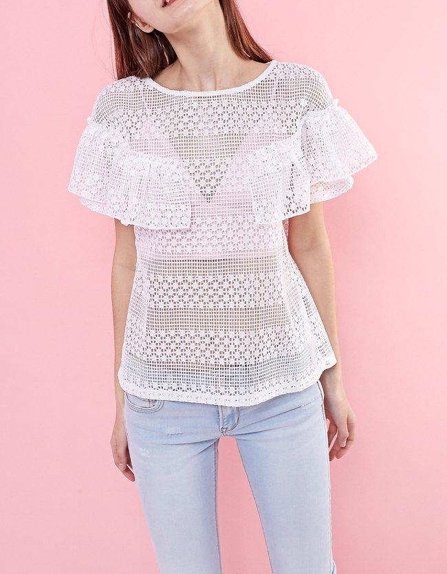 Stradivarius collection été 2017 - the summer expidetion : T-shirt crochet volant
