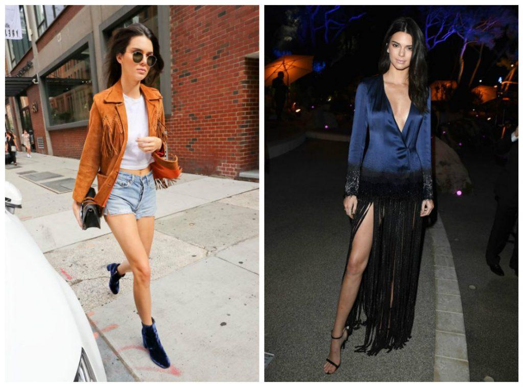 Kendall Jenner en look street style avec des vêtements à franges