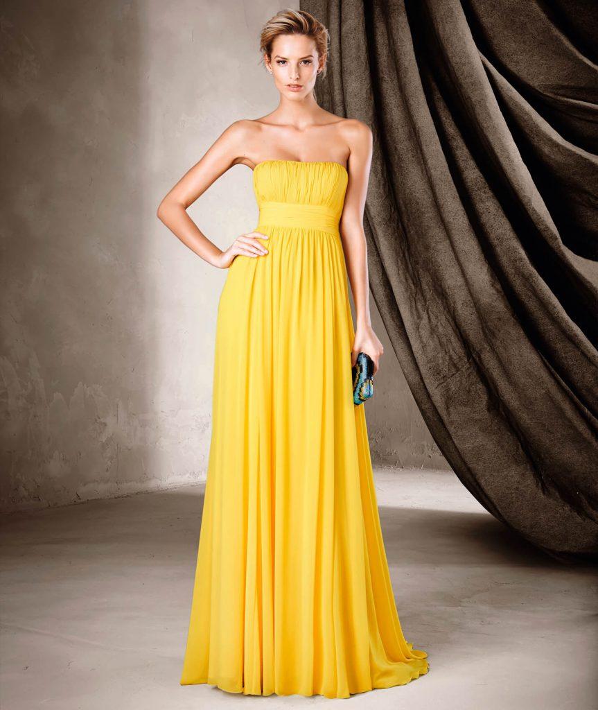 CLAIRE : Robe de soirée accrocheuse en gaze style évasé et décolleté bustier. Un jupon souligne la taille de ce modèle coloré qui ne passe pas inaperçu grâce à son élégante simplicité.