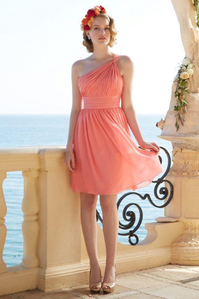 Petite robe corail orange asymétrique