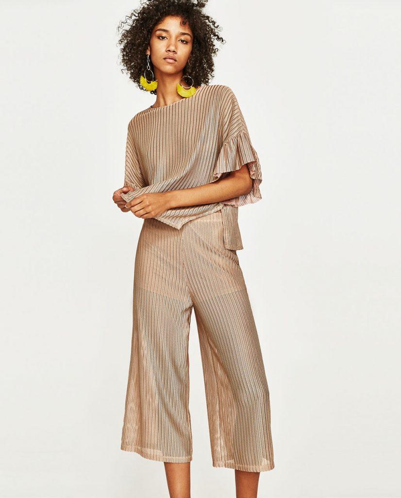 collection Zara spéciale Ramadan 2017 - JUPE-CULOTTE BRILLANTE EN FEUILLE DE MÉTAL