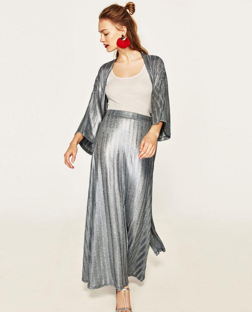 collection Zara spéciale Ramadan 2017 - JUPE LONGUE CÔTELÉE BRILLANTE
