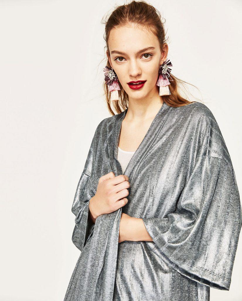 collection Zara spéciale Ramadan 2017 - VESTE LONGUE CÔTELÉE BRILLANTE