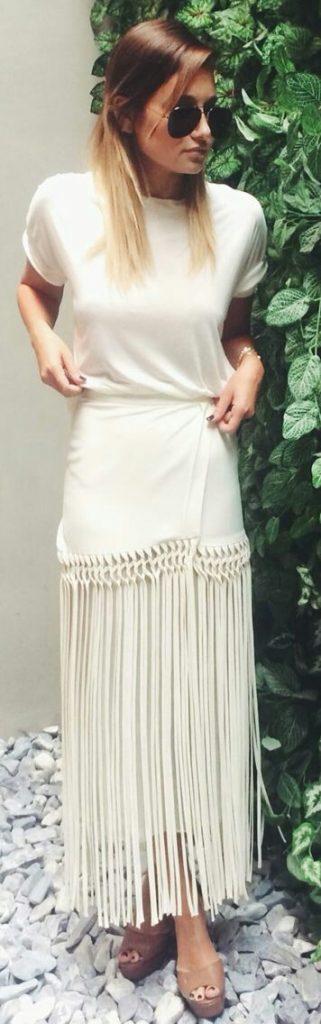 tendance femme 2017 jupe blanc avec longues franges