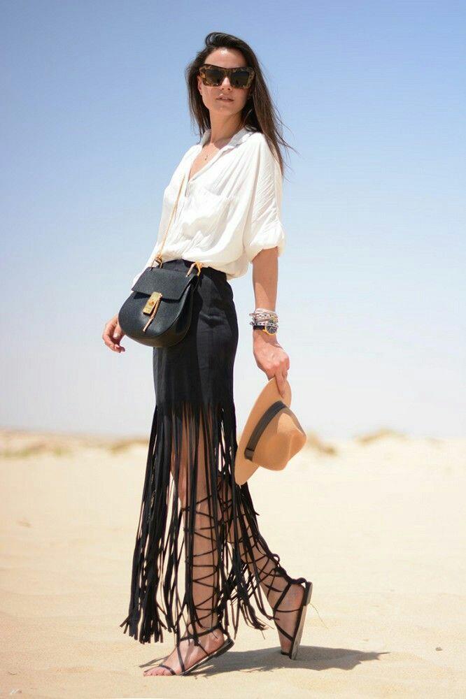 tendance femme 2017 jupe noir avec longues franges