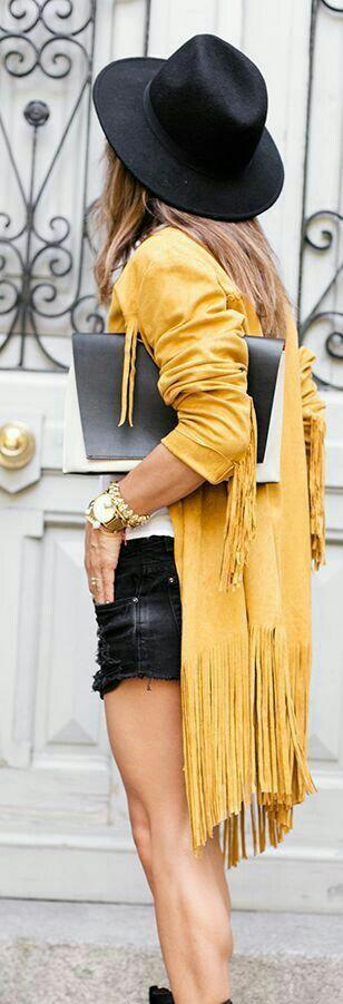 tendance femme 2017 longue veste jaune avec franges très chic