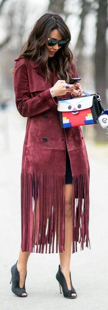 tendance femme 2017 manteau avec franges en faux daim trop stylé