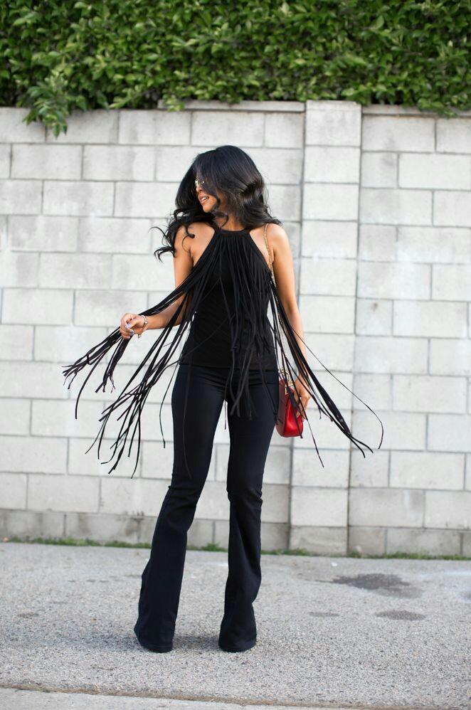 tendance femme 2017 pull noir avec des longues franges