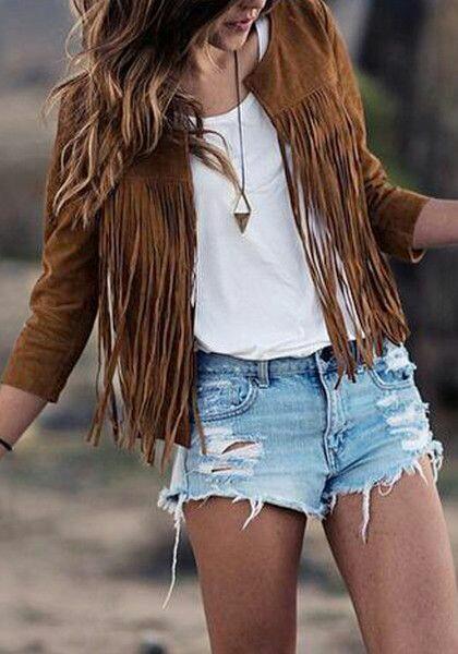tendance femme 2017 veste camel avec franges 2