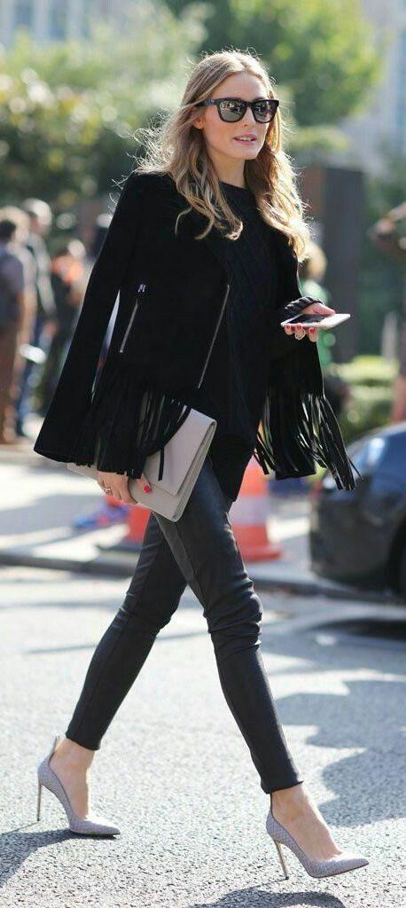tendance femme 2017 veste noir posé avec franges