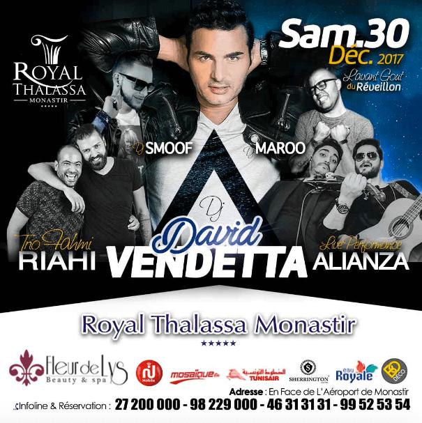 Une soirée légendaire vous attend avec la participation des deux fameux DJ internationaux David Vendetta et DJ Smoof qui allumeront la scène accompagnés de la live Band Alianza, DJ Maroo et le Trio Fahmi Riahi