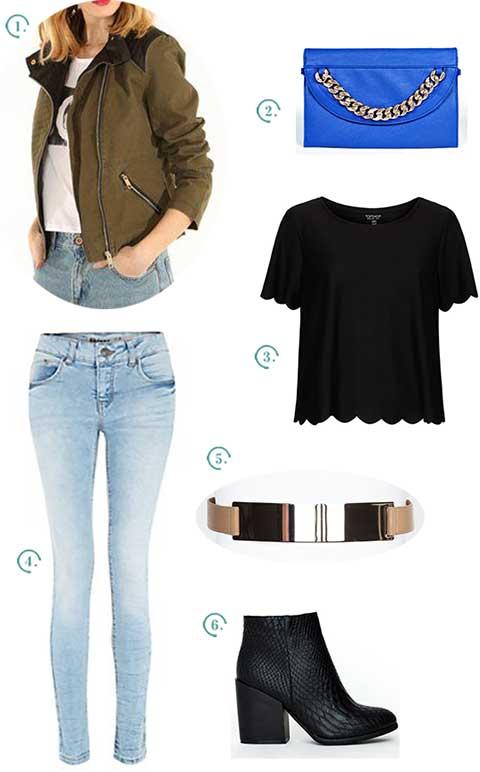 Tu n'as qu'à choisir la veste militaire que tu préfères (ici, une coupe qui se rapproche du perfecto) et l'accessoiriser avec des pièces tirées du style rock, comme le jean skinny, les vêtements noirs, les détails en métal et les accessoires à chaînes.