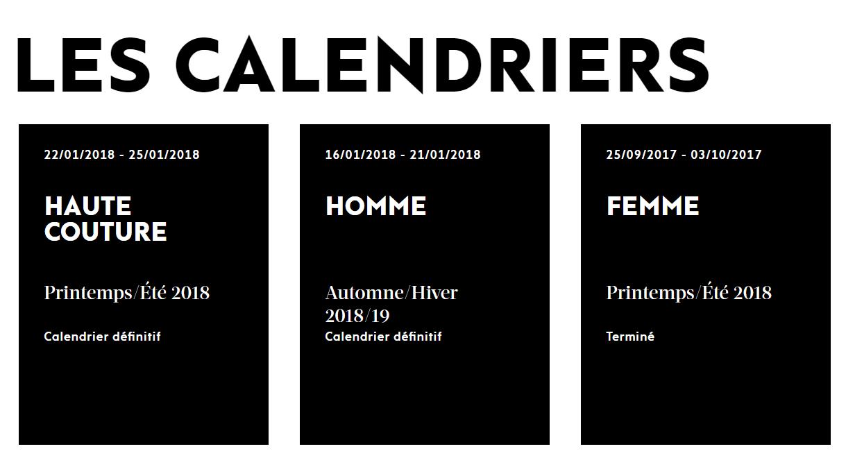 LES CALENDRIERS fashion week paris 2018
