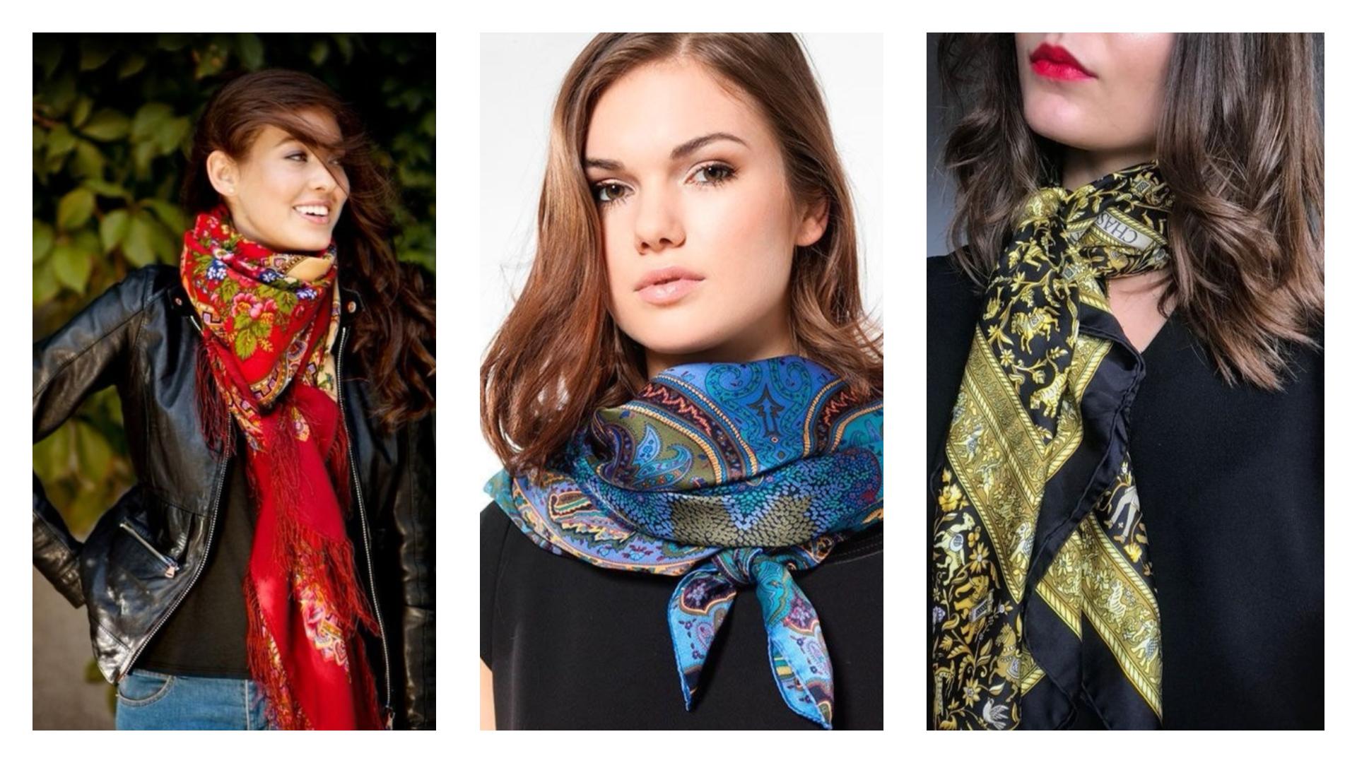 Enroulé serré puis noué délicatement autour du cou : Le foulard en soie est la tendance de la saison 2018