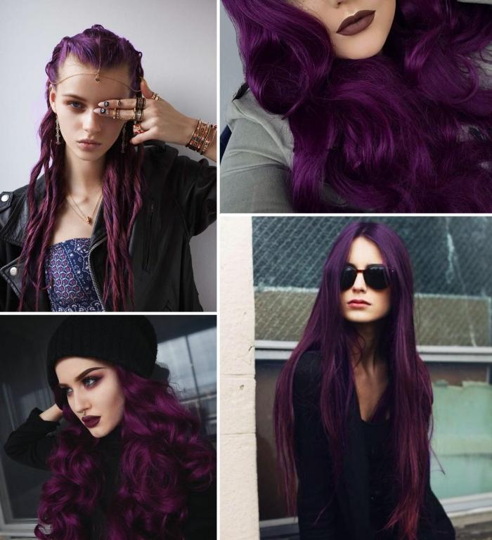 Couleur violet sur cheveux noir