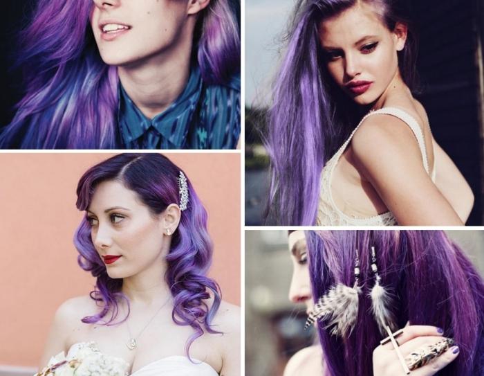 Tendance coloration tout savoir sur les cheveux violets prune la coloration phare de 2018 - Tie and dye cheveux boucles ...