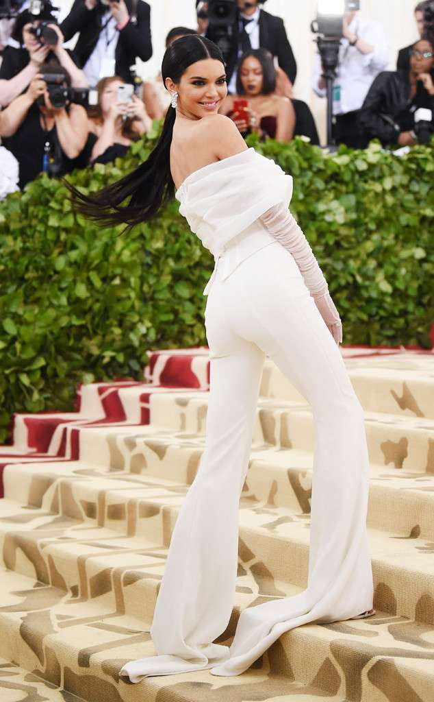 Kendall Jenner in Off-White, Tiffany & Co. jewelry, and Jimmy Choo shoes