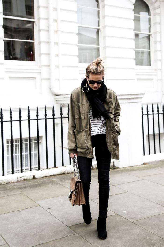 eef8d9efc5d8 veste kaki femme, comment s habiller bien avec pantalon slim noir et blouse  rayée