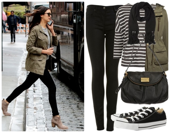1a1bc5a211fe les couleurs qui vont ensemble pour s habiller, pantalon slim noir porté  avec blouse grise