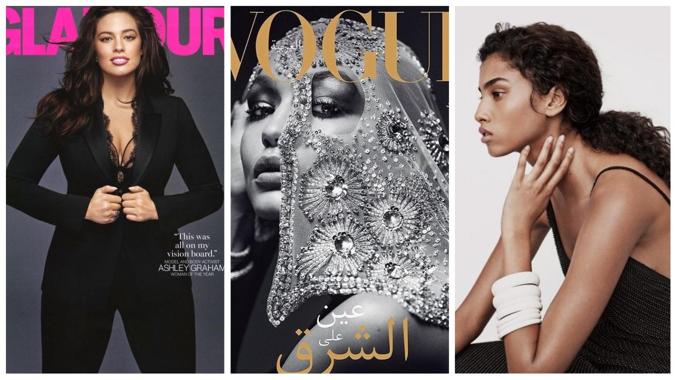 Devenir mannequin Éditorial et Print : de gauche à droite Ashley Graham, Gigi Hadid et Imaan Hammam